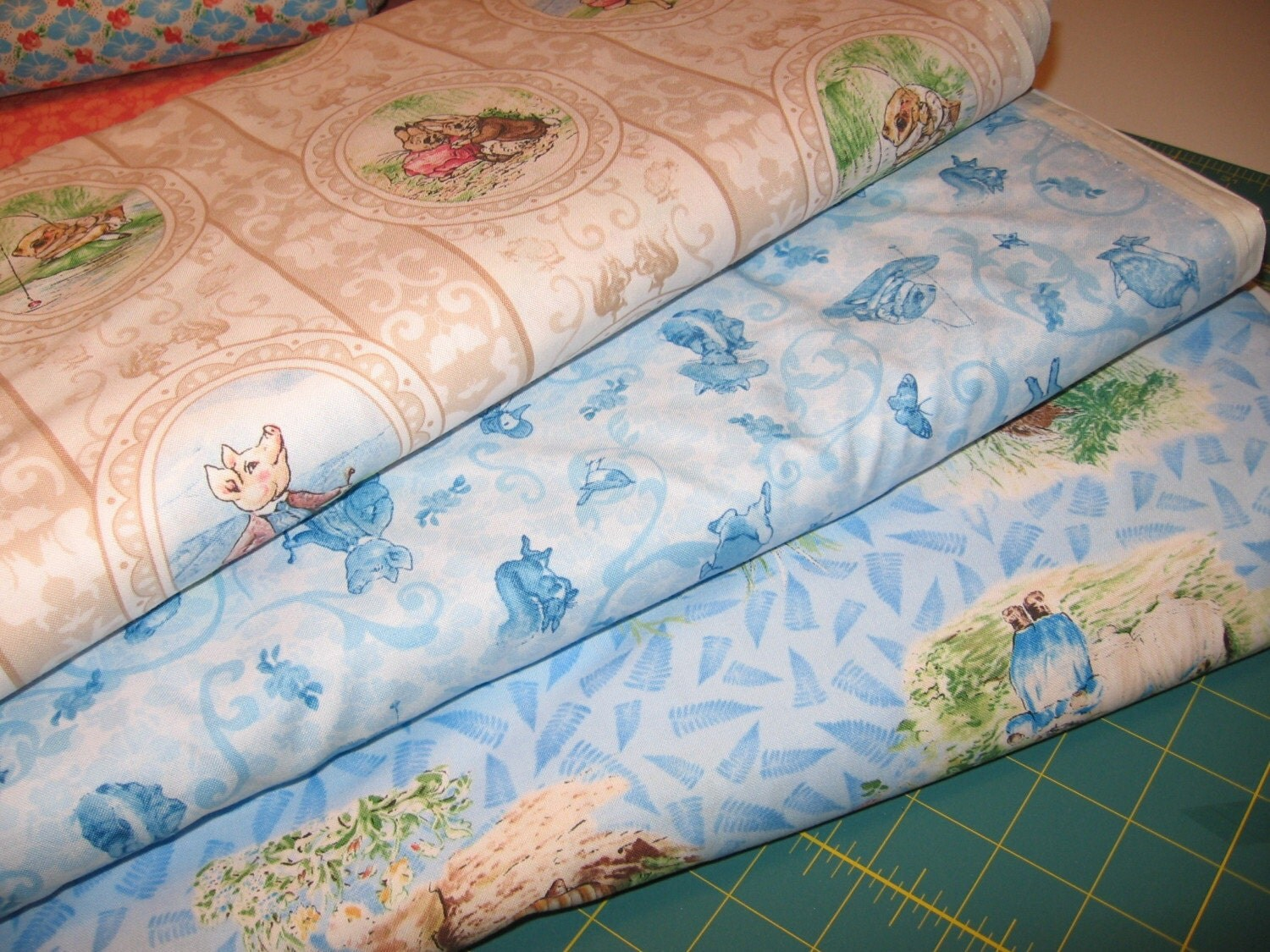 Sale beatrix potter victorian nursery fabric by quilting for Nursery fabric sale