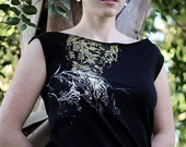 Women's BLACK DRESS- Screen Printed - Floral Design -(S,M,L)