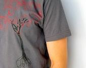 MAP TREE-Dark Grey Men's T- Shirt - MEDIUM