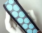 WRISTLET KEYCHAIN  Amy Butler Blue Lotus Dots on Black Key Fob