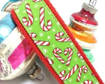 Christmas Wristlet Keychain Key Fob Candy Canes