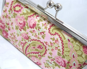 Coupon Organizer Purse Cottage Floral Pink