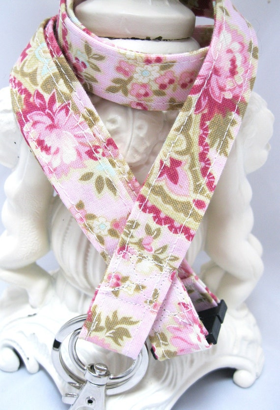 Lanyard Badge Holder with Breakaway Clip Cottage Floral