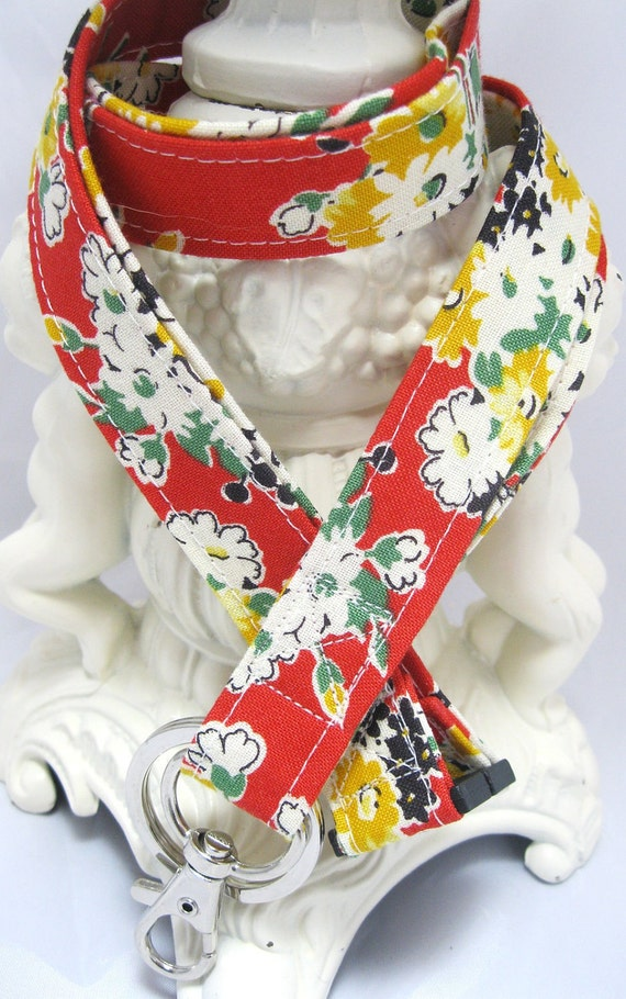 Lanyard Badge Holder with Breakaway Clip Red Vintage Bouquet