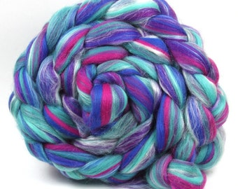 Merino and Silk Blend Wool Combed Top Kingfisher  100g