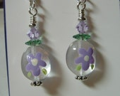 Small Oval Hand Painted Flower Glass earrings on Silver