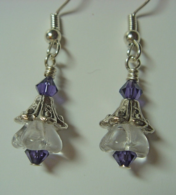 Dainty Clear Flower Earrings with purple accents on Silver