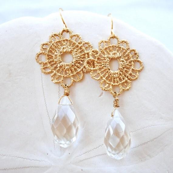 Gold Lace Filigree. Crystal Clear. Dangle Earrings. Bridal Earrings.