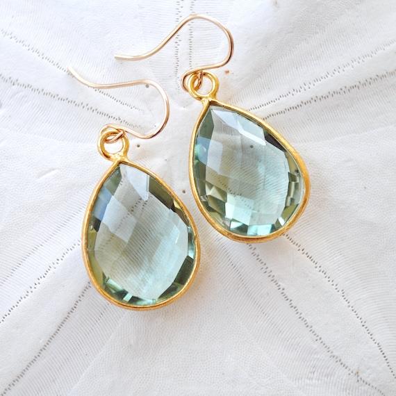 Teal Quartz. CeladonTeardrop. Dangle Earrings. Gold Filled Ear Wires. Gemstone. Fine Jewelry.