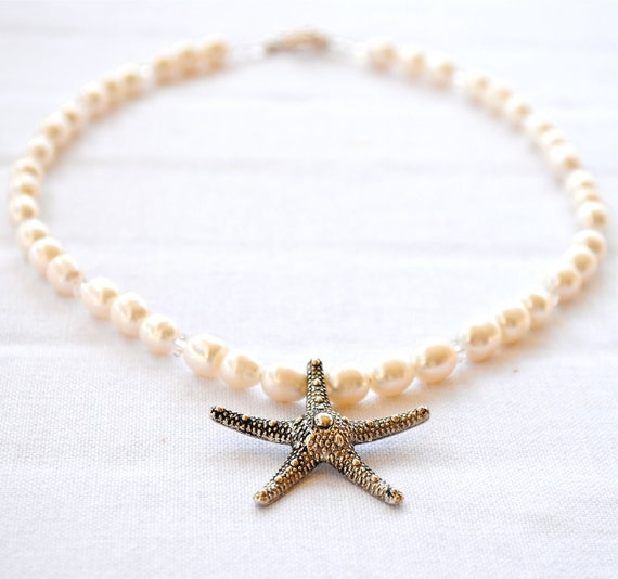 Cyber Monday Etsy Necklace. Silver Starfish. White Fresh Water Pearls. Beach Necklace. Swarovski Crystals.