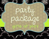 Party Package - Invitation plus any 3 party items  Printable - by girlsatplay