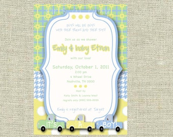 Baby Shower Boy Trucks Toys Invite Blue Green Yellow - Print By You - by girls at play
