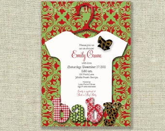 Baby Shower Girl Boy Christmas Invitation Damask Leopard Bow Printable - by girlsatplay
