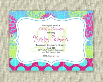 Birthday 21st Girl Invitation Surprise Flowers dots - DIGITAL Print at home - by girlsatplay girls at play