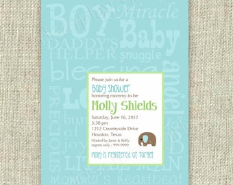 Modern Baby Boy Shower Invitation Elephant  Blue Green Subway Digital Printable by girlsatplay girls at play