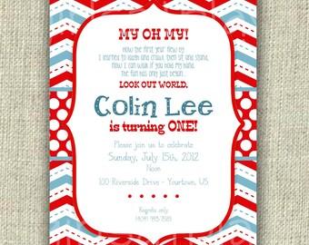 Modern 1st First Birthday Boy Invitation Blue Red Chevron Dots - Print By You - by girls at play girlsatplay