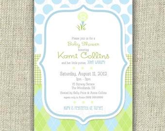 Golf Baby Shower Invitation Invite Boy Blue Green Argyle Polka Dot Printable - by girlsatplay girls at play