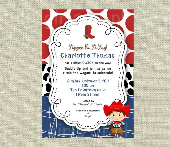 Baby Shower Cowboy Theme: Items Similar To Baby Shower Cowboy Cowgirl Boy Invitation