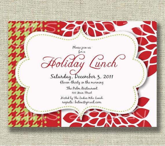 Christmas holiday invitation luncheon open house by girlsatplay for Christmas lunch invitation