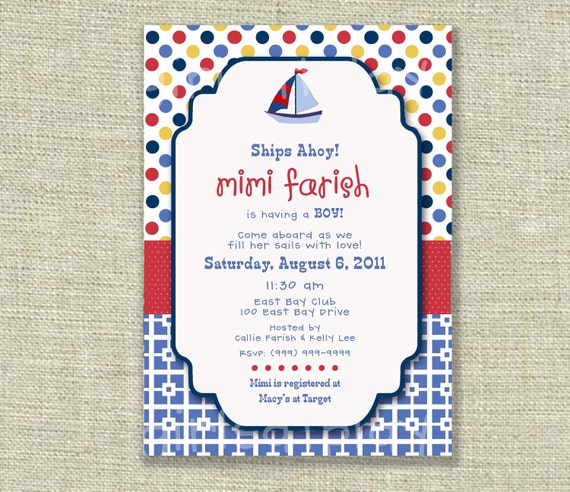 Baby Shower Boy Invitation Nautical Sailboat Navy Polka Dots Red Yellow Blue - Printable - by girlsatplay Etsy girls at play