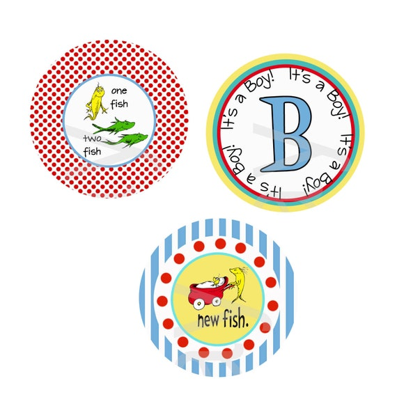 Dr Seuss Baby Shower Circle Cupcake TOPPERS STICKERS TAG  - Printable -  by girlsat play