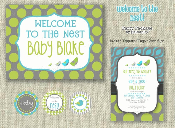 Baby Boy Shower Invitation Party Packet Bird Sip and See Digital Printable by girlsatplay girls at play