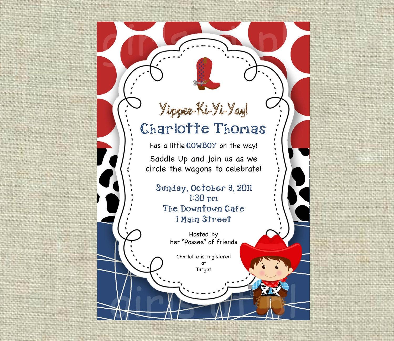 Baby Shower Cowboy Cowgirl Boy Invitation Texas Western