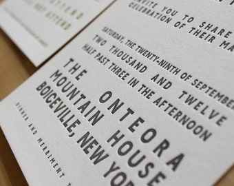 Modern Bold Letterpress Wedding Invitation Sample // simple and chic Letterpress Invitation for a modern wedding