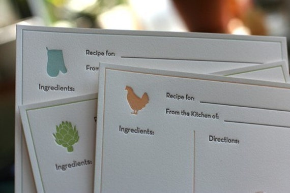 Letterpress Recipe Cards (Pack of 45) - Three Assorted Styles