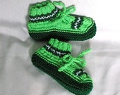 Childs Slippers Size 11 - 13 Handknitted Bright, Dark Greens and White