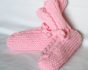 Girls Pink Slippers, Kids Knitted Slippers Childrens Size 12 - 13