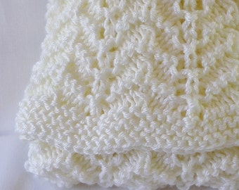 Baby Blanket Afghan, Newborn Size, Handknitted in Cream, Rippled.