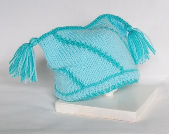 Baby Hat Baby Boy Jester Hat Knitted Peacock Blues, 3 - 12 Months Hand Knitted Cap