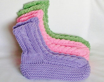 Womens Slippers, MADE to ORDER, Knitted High Cuff. Choose Color, Size