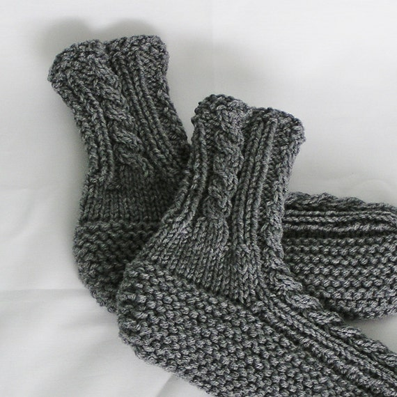 Mens Slippers, Medium Gray High Cuff, Handknitted Bedsocks, Size 8 - 9