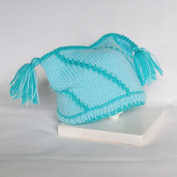 Knitted Baby Hat Baby Boy Jester Hat Peacock Blues, 3 - 12 Months Hand Knitted Cap