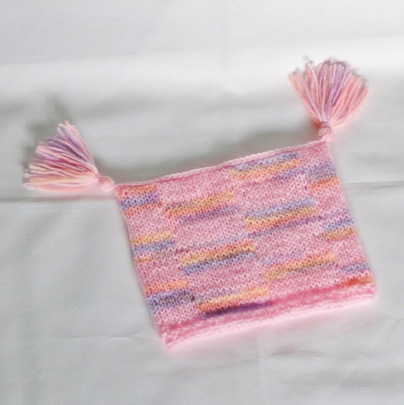 Baby Girl Jester Hat, Pink and Pastels 0 to 3 Months, Handknitted Tassels