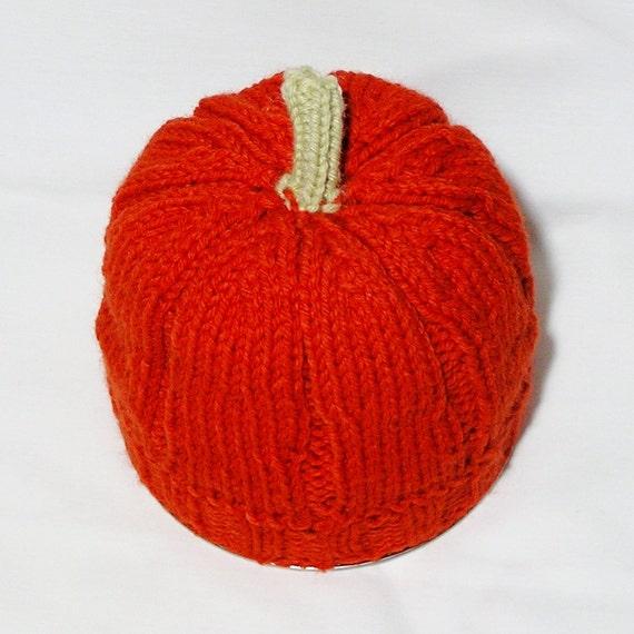 Baby Hat, Pumpkin, Handknitted, Newborn to 6 Months, in Dark Orange