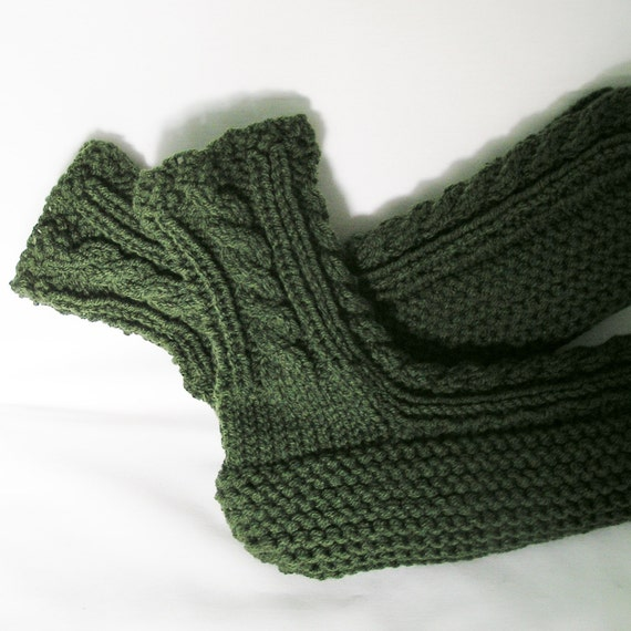 Mens SlipperSocks, Knitted in Dark Thyme Green, 10 - 11, Cabled Cuffs.