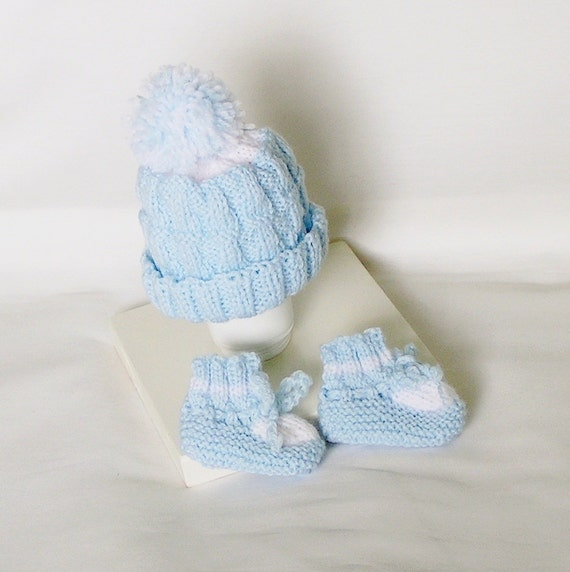 Premie Baby Boy Hat and Booties Set, Handknitted for Newborn or Doll
