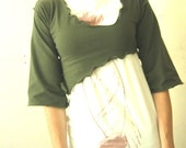 3/4 ASYMMETRICAL CROP  top, women's shirt, olive shirt, half top, cropped shirt, three quarter sleeves, handmade, custom, soft fabric