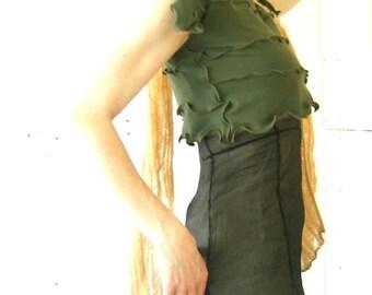 SPLITSLEEVE CROP TOP  women shirt, women top, half shirt, cropped shirt, cap sleeve shirt, green shirt, olive shirt, made for layering