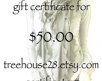 GIFT CERTIFICATE  gift, present, gift ideas, women's gift, girl's gift, unique gift, last minute gift, treehouse28, treehouse