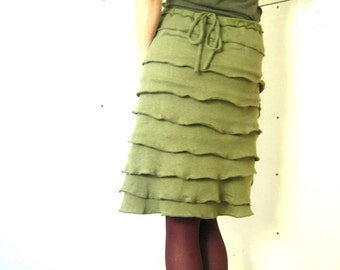 RUFFLED SKIRT women| clothing| skirt| handmade| custom| unique clothing| olive color| comfortable skirt| skirt with stretch