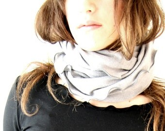 CIRCULAR SCARF infinity scarf, womens accessory, loop scarf, treehouse28 , ruffled scarf, hand made, custom, more colors available