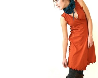 WRAP DRESS womens day dress| trending item| best selling| custom clothes| wrap dress| rust orange dress| handmade dress