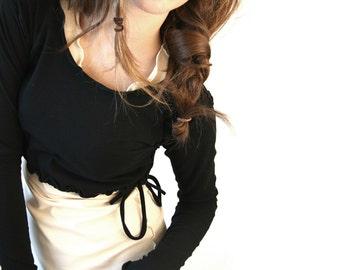 DRAWSTING DEMI women  tops  cropped tops  half top  layering   shirt  handmade  long sleeve shirt  black shirt  yoga shirt  breastfeeding
