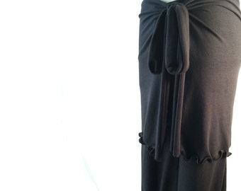 HIP WRAP womens skirt| wrap skirt| handmade clothing| grey skirt| layered clothing| yoga pants cover up| womens clothing| ruffled skirt