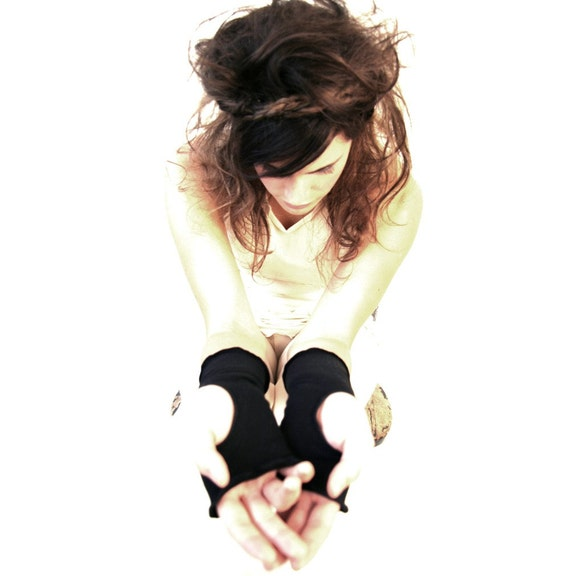 HAND WARMERS CUFFS, womens accessory, black arm warmers, boho womens accessory, black gloves, thumbhole warmers, treehouse28, handmade glove