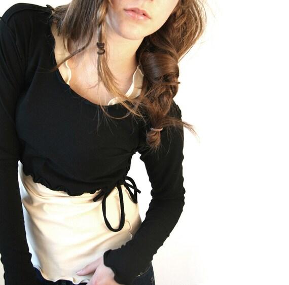 DRAWSTING DEMI women| tops| cropped tops| half top| layering | shirt| handmade| long sleeve shirt| black shirt| yoga shirt| breastfeeding